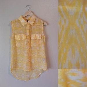 W118 by Walter Baker Yellow Sheer Button Down Top